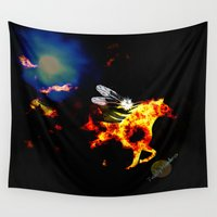 pony Wall Tapestries featuring Wild Pony by TrinityHawk Photography & Multimedia