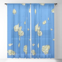 Golden Islands in the Ocean / Abstract Acrylic Painting Sheer Curtain