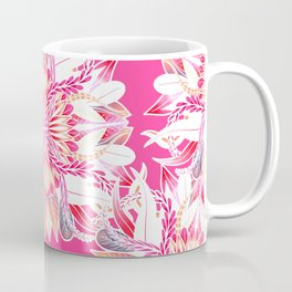 Girly Artsy Coral Pink White Floral Mandala Coffee Mug