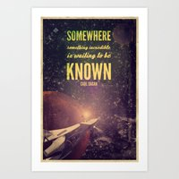 carl sagan Art Prints featuring Space Exploration (Carl Sagan Quote) by taudalpoiart