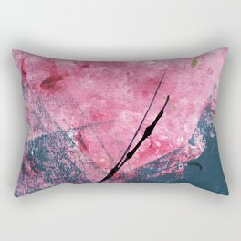 Orchid: a bright abstract mixed media piece in blue, pink, and, black Rectangular Pillow