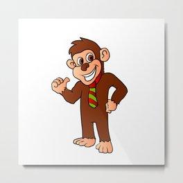Monkey with tie Metal Print