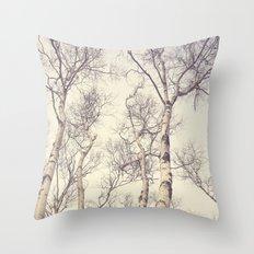 Winter Birch Trees Throw Pillow