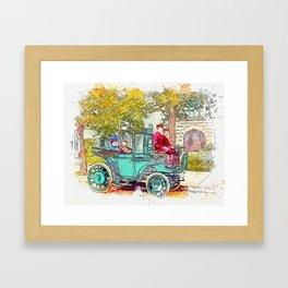 Senator Wetmore & Wife in Horseless Carriage (Krieger Electric Landaulet) 1906 watercolor by Ahmet A Framed Art Print