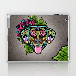 Doberman with Floppy Ears - Day of the Dead Sugar Skull Dog Laptop & iPad Skin