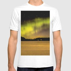 Northern Lights Fill The Sky White MEDIUM Mens Fitted Tee