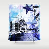 berlin Shower Curtains featuring Berlin  by LebensART