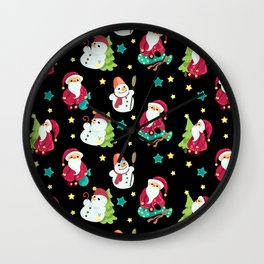 Fairy night forest with Santas and Snowmen Wall Clock
