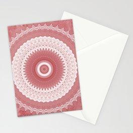 Elegant White Lace Mandala over Pink Marble Stationery Cards