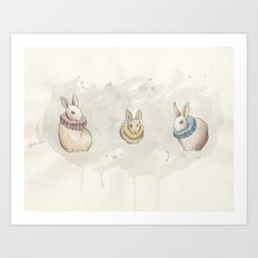 Rabbits in Ruffs Art Print