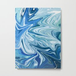 Gemstone [4]: a vibrant abstract melted design in blues and white by Alyssa Hamilton Art Metal Print