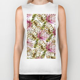 Tropical pink purple sunshine yellow palm tree stripes Biker Tank
