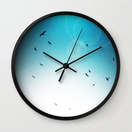 Birds in the Sky.  Blue & White Sun Photography Wall Clock