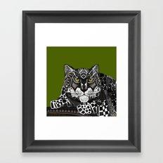 snow leopard green Framed Art Print