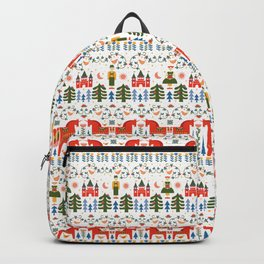 Scandinavian Fairtytale - Green + Red Backpack