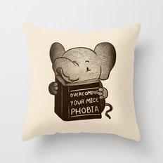 Elephant Overcoming Your Mice Phobia Throw Pillow