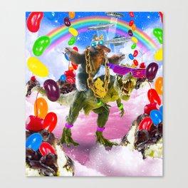 Sloth Riding Dinosaur With Sundae And Jelly Beans Canvas Print