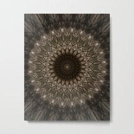 Brown mandala with geometric ornaments Metal Print