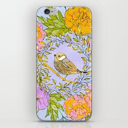 Spring Chickadee in Flowery Woodland Wreath iPhone Skin