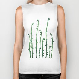 green fern watercolor Biker Tank