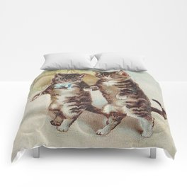 Vintage Cats Walking with Parasol Comforters
