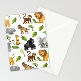 Safari Animals Pattern Watercolor Stationery Cards
