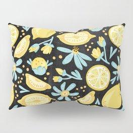 Lemon Pattern Black Pillow Sham