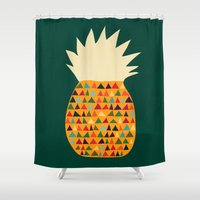 pineapple Shower Curtains featuring Pineapple by Picomodi
