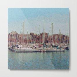 Sailboats In The Harbour III Metal Print