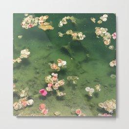 Flower Petals Scattered in Emerald Green Pond Metal Print