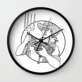 Farmer Holding Hen Pitchfork Zentagle Wall Clock