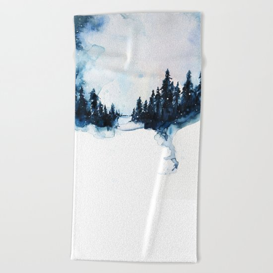 Winter Watercolor Beach Towel