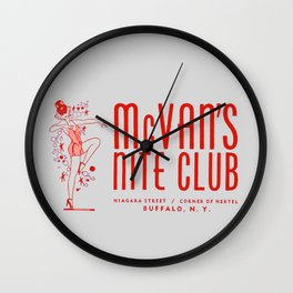 McVan's Nite Club in Red Wall Clock
