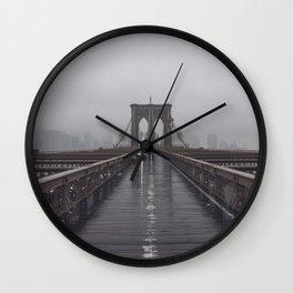 Brooklyn Bridge Fog Wall Clock