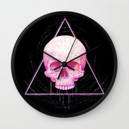 Skull in triangle on black Wall Clock