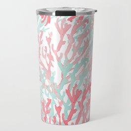 Modern hand painted coral pink teal reef coral floral Travel Mug