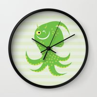 reassurance Wall Clocks featuring Squid of Reassurance by makoshark