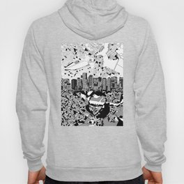 boston city skyline black and white Hoody