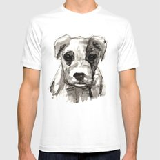 Puppy  MEDIUM White Mens Fitted Tee