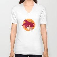 goku V-neck T-shirts featuring SSG Goku by CmOrigins