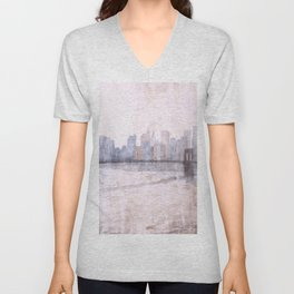 Brooklyn Bridge and skyscrapers of Manhattan at sunset in New York City- New York, USA.  Watercolor Unisex V-Neck