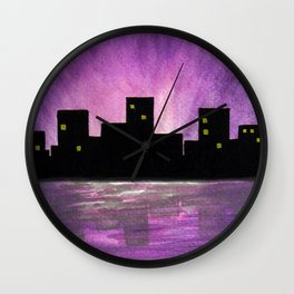 Silhouette buildings by the lake - Watercolour Art Wall Clock