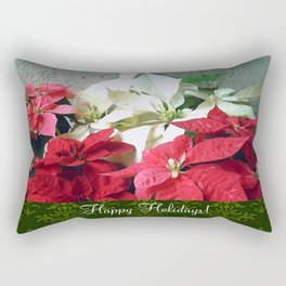 Mixed color Poinsettias 3 Happy Holidays S6F1 Rectangular Pillow