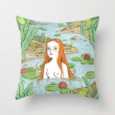 Lady of the pond Throw Pillow