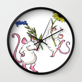 Mice  with Flowers Wall Clock