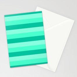 Teal, Sea foam Green, & Mint Medium Stripes Stationery Cards