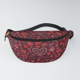 Hearts and flowers on a red background Fanny Pack