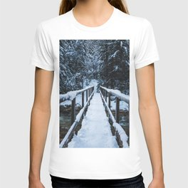 Crossing the river in winter T-shirt