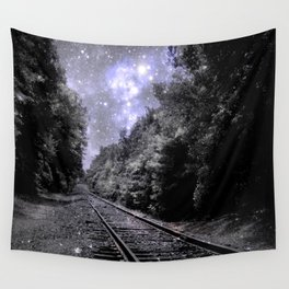 Train Tracks Next Stop Anywhere Periwinkle Gray Wall Tapestry