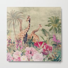 Vintage & Shabby Chic - Tropical Animals And Flower Garden Metal Print